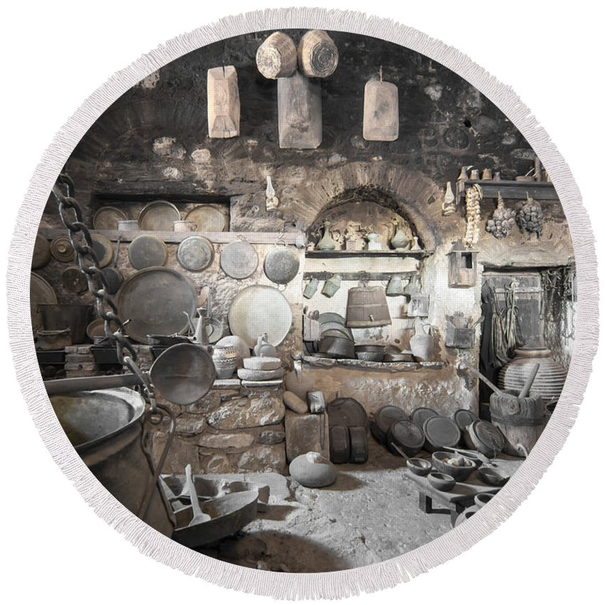 Greece Round Beach Towel featuring the photograph Old Kitchen by Roy Pedersen