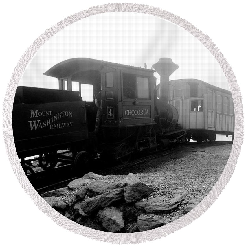 Train Round Beach Towel featuring the photograph Old Locomotive by Sebastian Musial