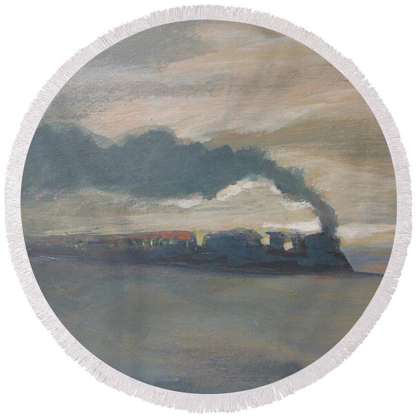 Old Locomotive Steam Train Round Beach Towel featuring the painting Old Locomotive Steam Train by John Malone