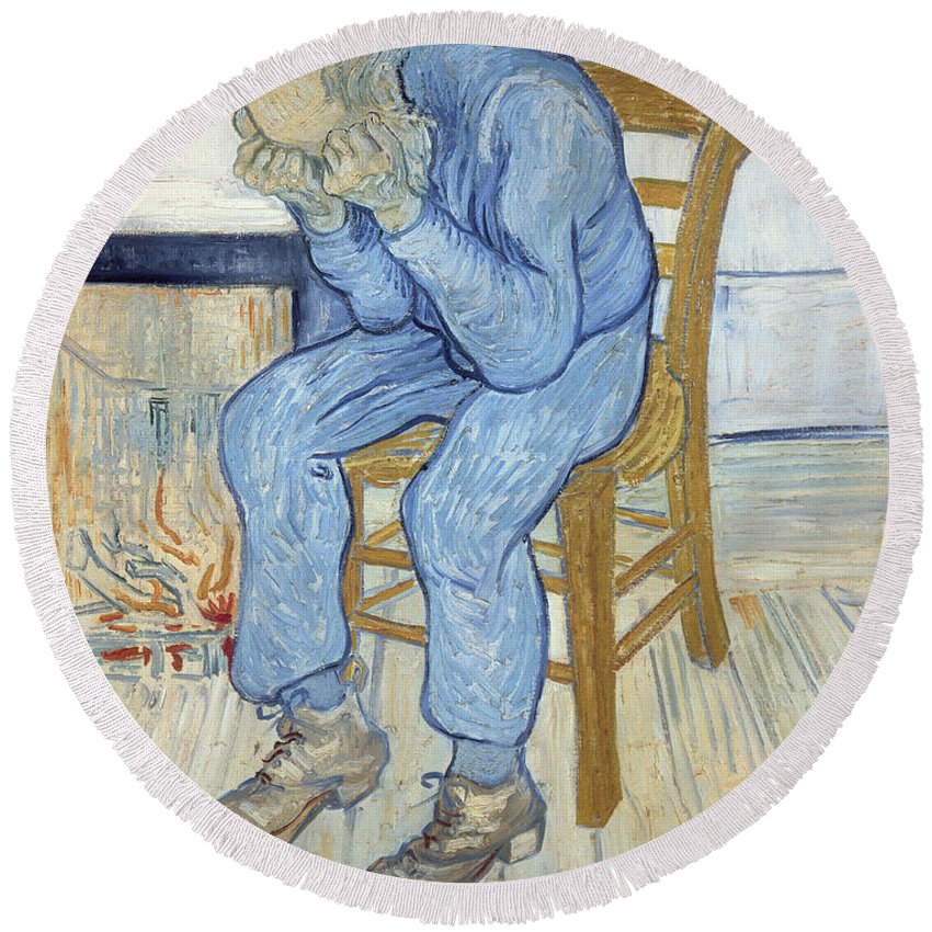 Male; Elderly; Seated; Head In Hands; Despair; Desperate Round Beach Towel featuring the painting Old Man In Sorrow by Vincent van Gogh