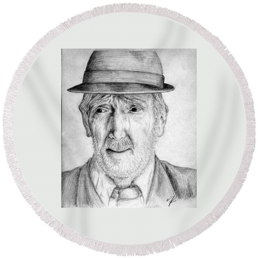 Man Round Beach Towel featuring the drawing Old Man With Hat by Nicole Zeug