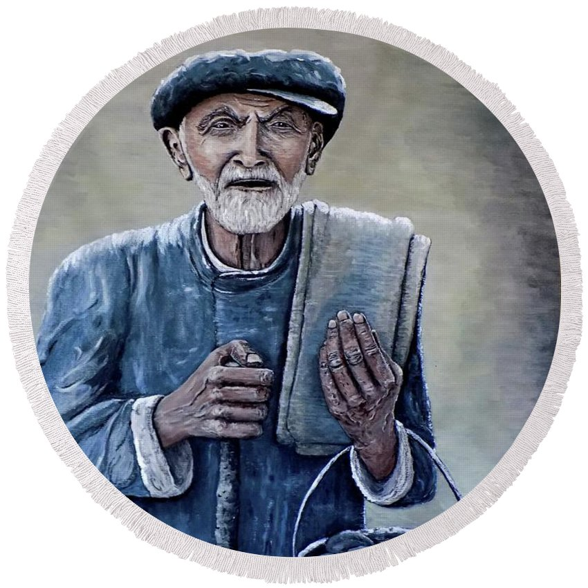 Old Man Round Beach Towel featuring the painting Old Man With His Stones by Judy Kirouac