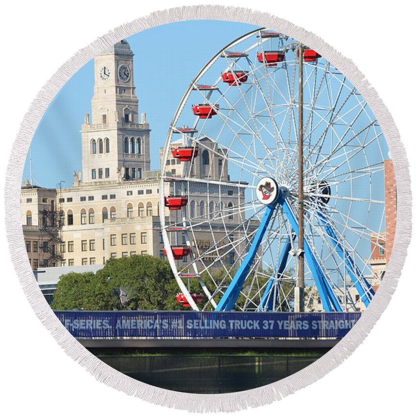Modern Woodman Ball Park Round Beach Towel featuring the photograph Old Meets New by Tammy Mutka