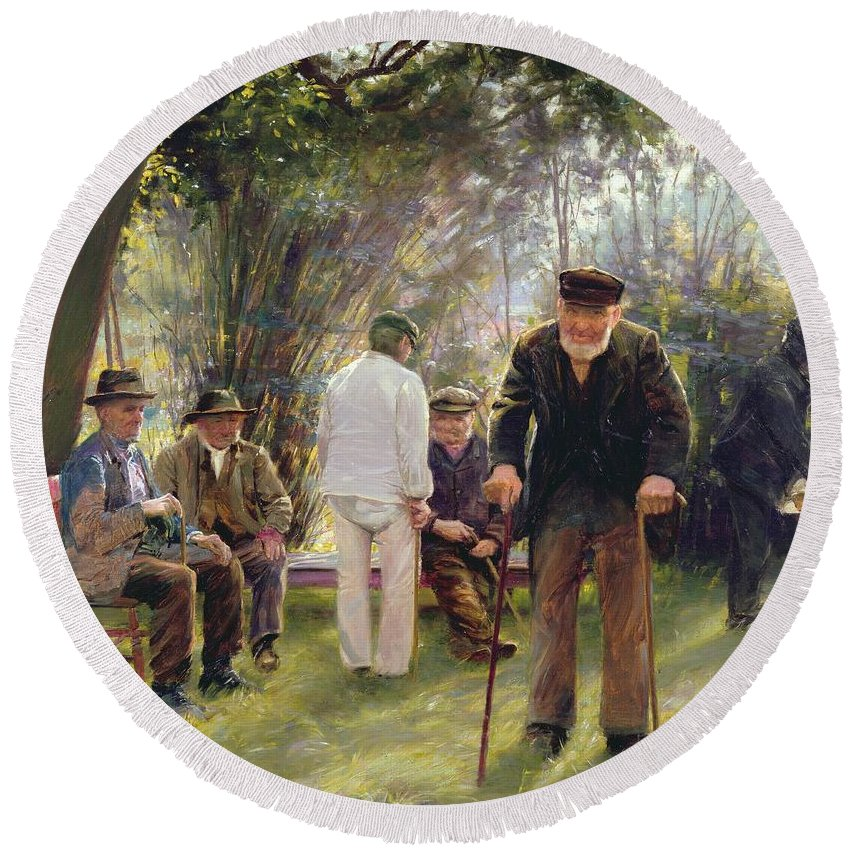 Old Round Beach Towel featuring the painting Old Men In Rockingham Park by Walter Bonner Gash