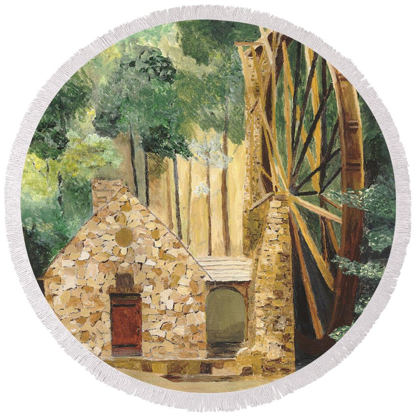 Mill Round Beach Towel featuring the painting Old Mill At Berry College by Rodney Campbell