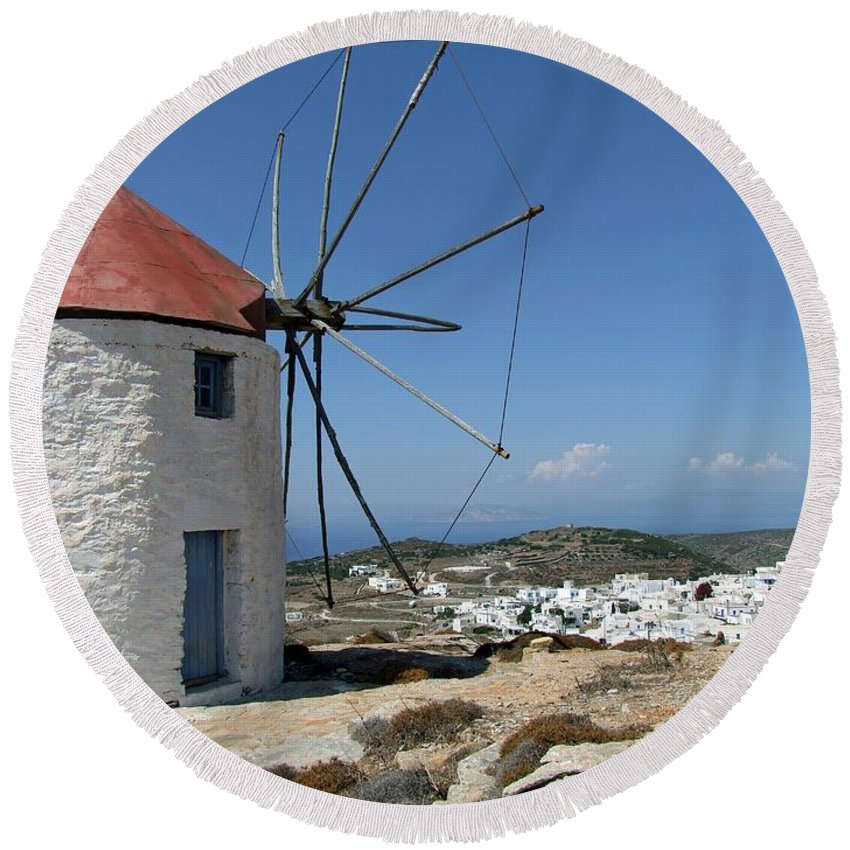 Nature Round Beach Towel featuring the photograph Old Mill In Greece by FL collection