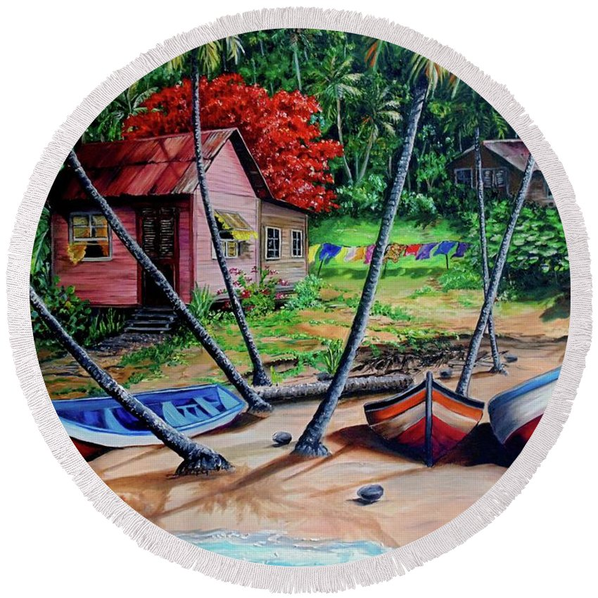 Tropical Round Beach Towel featuring the painting Old Palatuvia Tobago by Karin Dawn Kelshall- Best