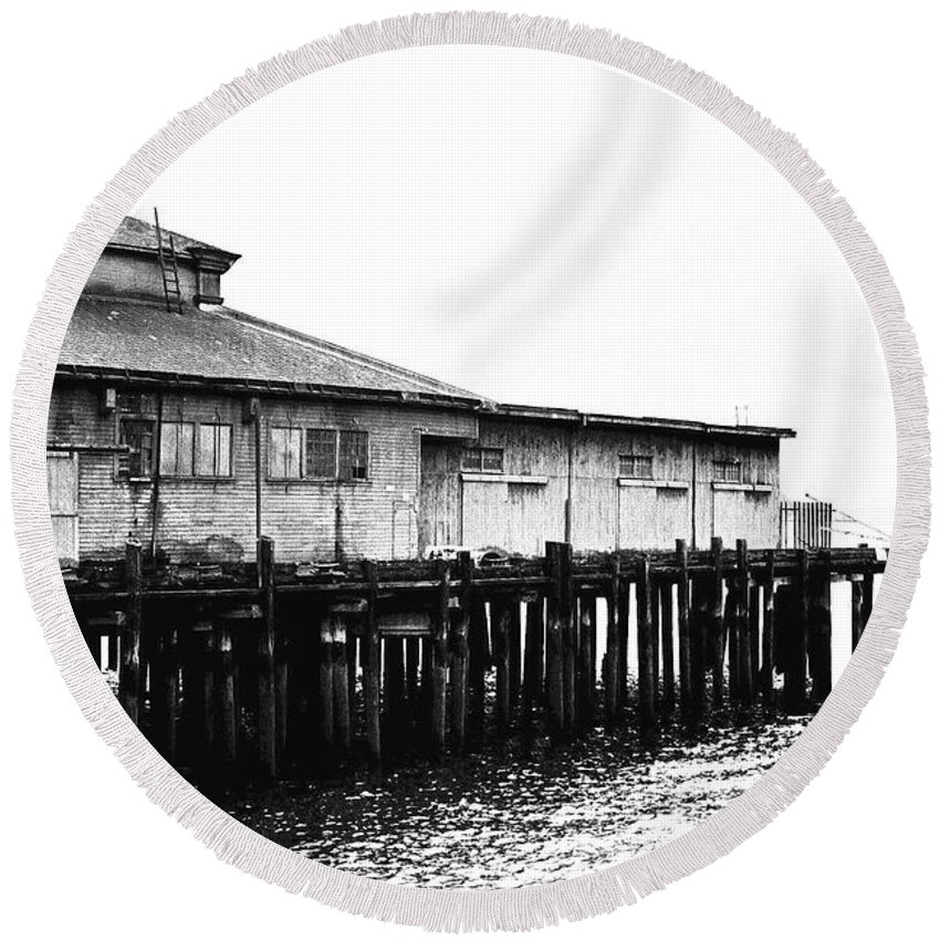 History Round Beach Towel featuring the photograph Old Pier by Karen Ulvestad