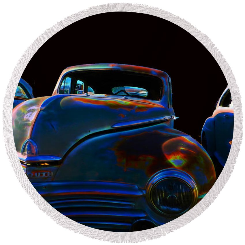 Round Beach Towel featuring the digital art Old Plymouth Old Cars by Cathy Anderson