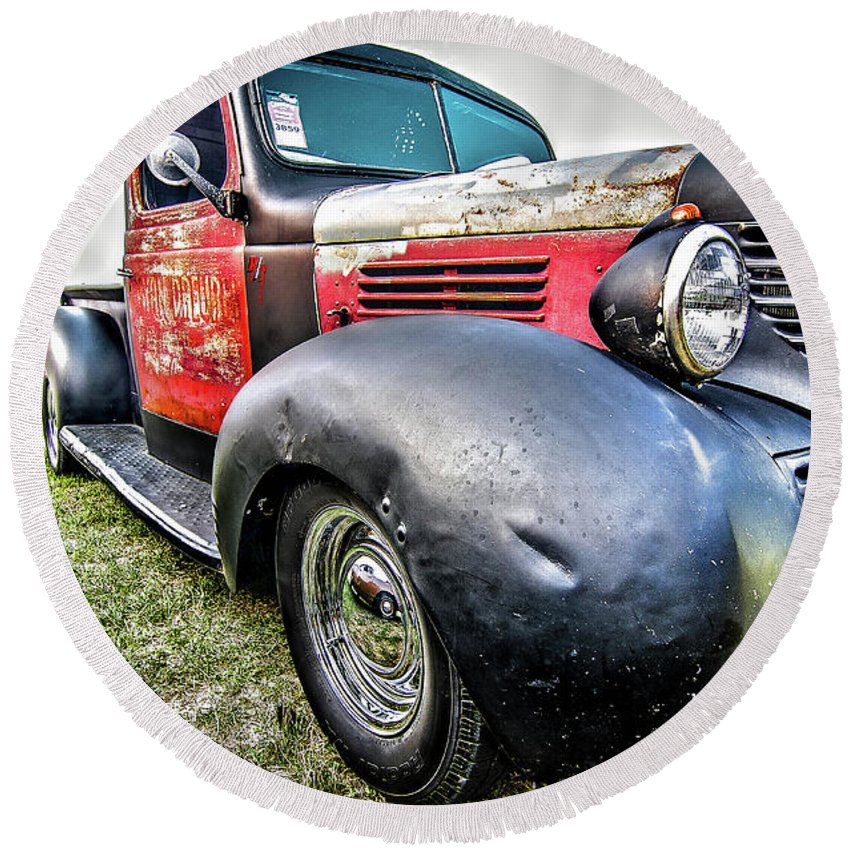 Truck Round Beach Towel featuring the photograph Old Plymouth Truck by Wayne Heim