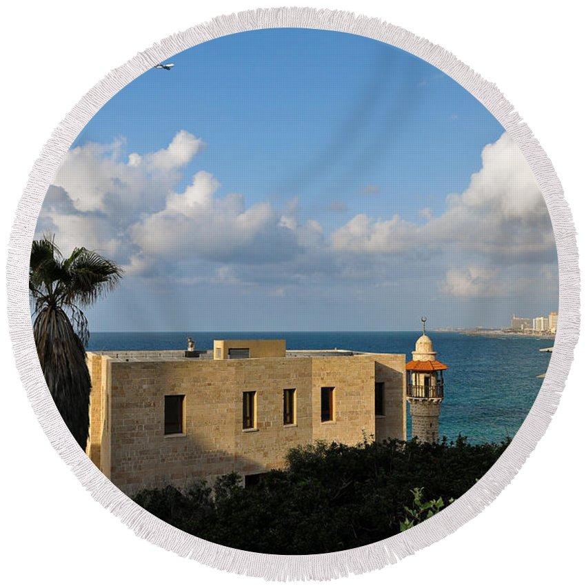 Tel Aviv Round Beach Towel featuring the photograph Old Port Lookout Point by Desiree Silva