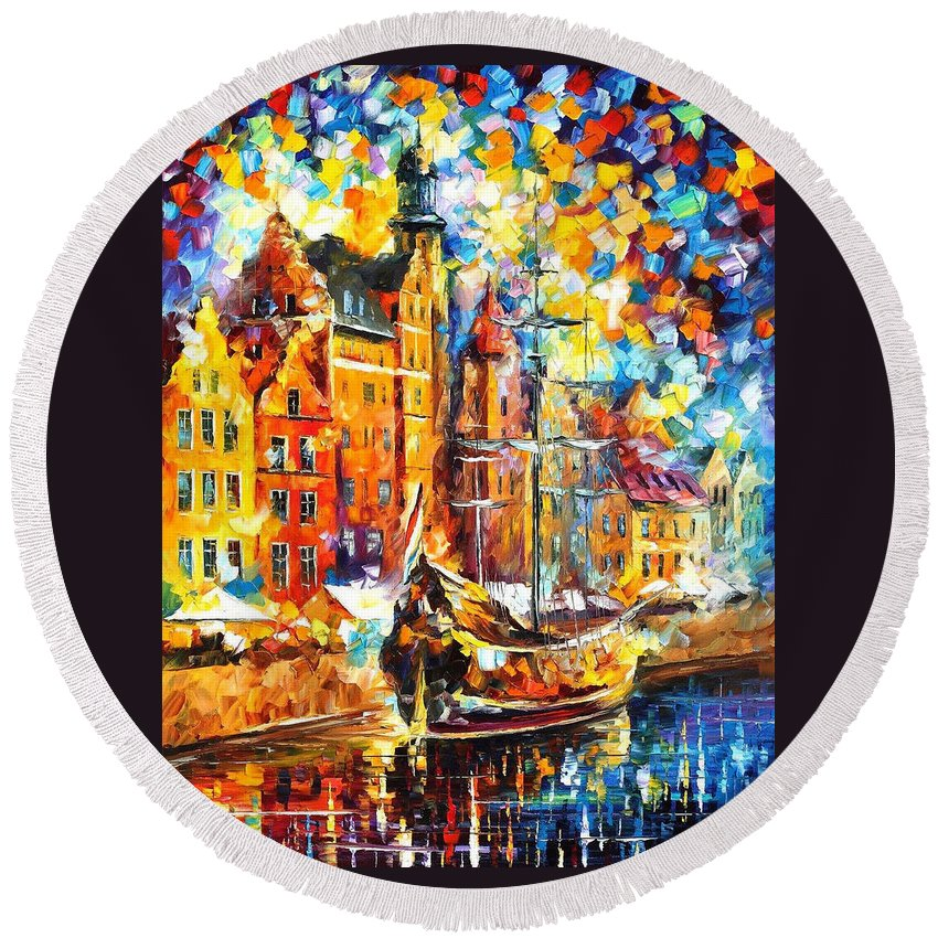 Art Gallery Round Beach Towel featuring the painting Old Port - Palette Knife Oil Painting On Canvas By Leonid Afremov by Leonid Afremov