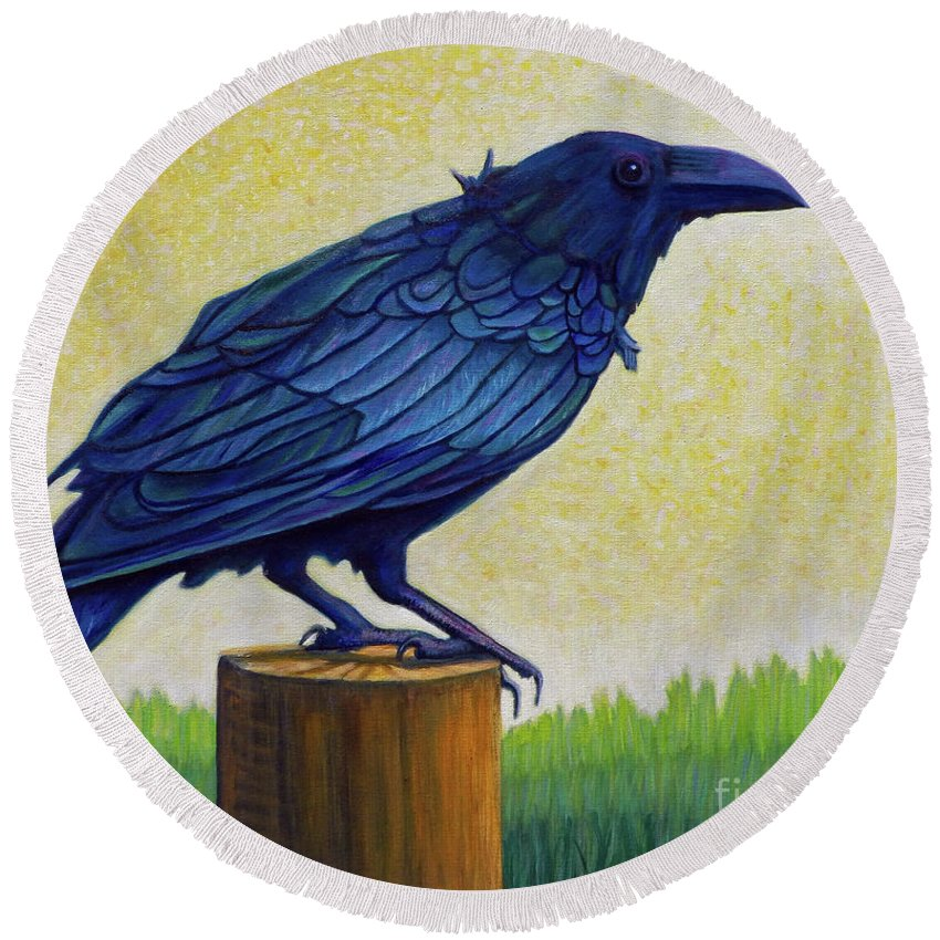 Raven Round Beach Towel featuring the painting Old Priest In Passion by Brian Commerford
