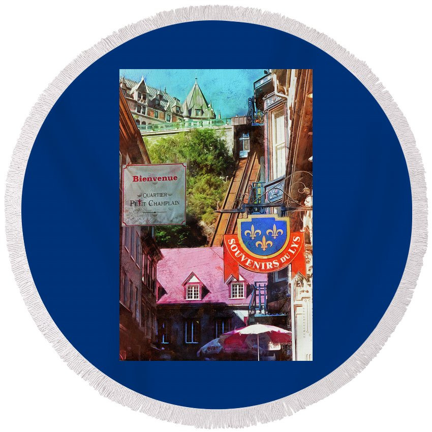 Hdr Round Beach Towel featuring the photograph Old Quebec City Funicular by Thom Zehrfeld