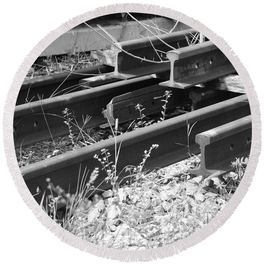 Black And White Round Beach Towel featuring the photograph Old Rails by Rob Hans