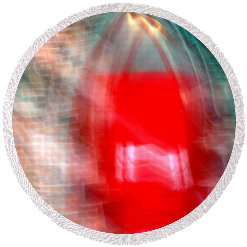 Red Round Beach Towel featuring the photograph Old Red Door Abstract by Anthony Jones