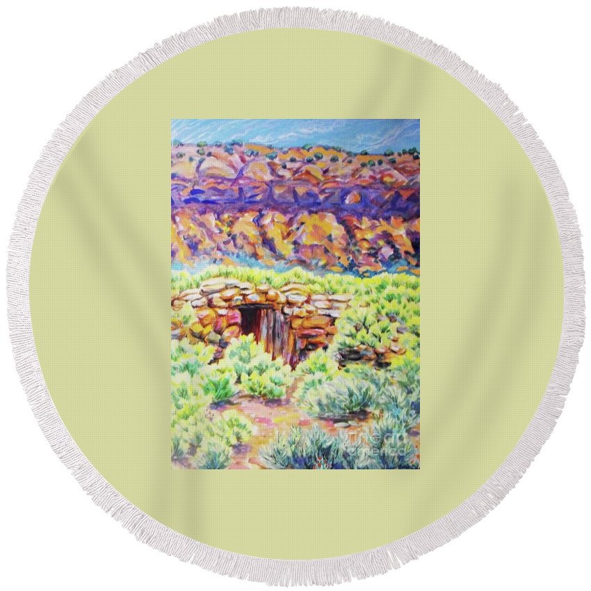 Old Root Cellar In Desert Valley Round Beach Towel featuring the painting Old Root Cellar by Annie Gibbons