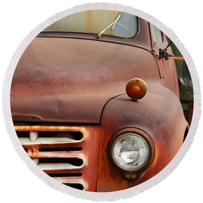 Old Rusty Truck Round Beach Towel for Sale by Art Block Collections