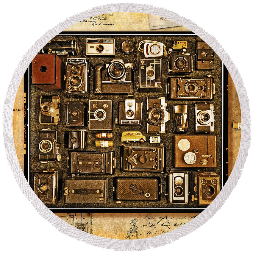 Vintage Round Beach Towel featuring the photograph 'old School' Cameras by Mal Bray