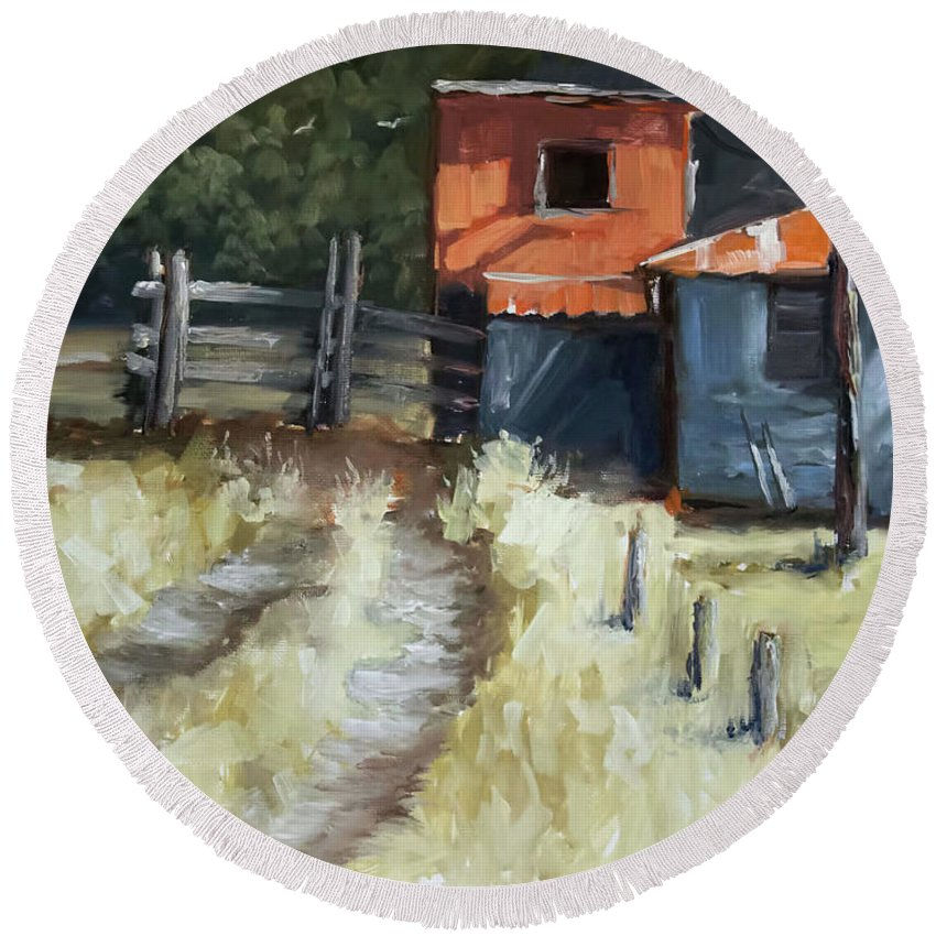Shack Round Beach Towel featuring the painting Old Shack by Melissa Herrin