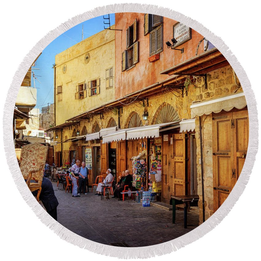 Sidon Round Beach Towel featuring the photograph Old Souk Of Sidon by Naoki Takyo