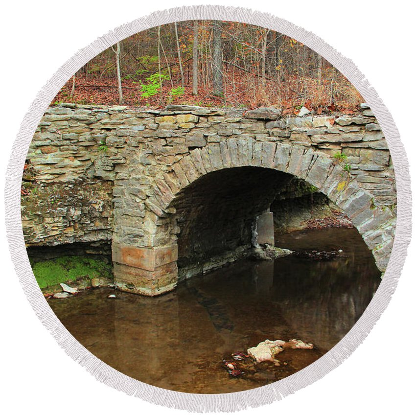 Old Stone Bridge Round Beach Towel featuring the photograph Old Stone Bridge In Illinois 1 by Greg Matchick