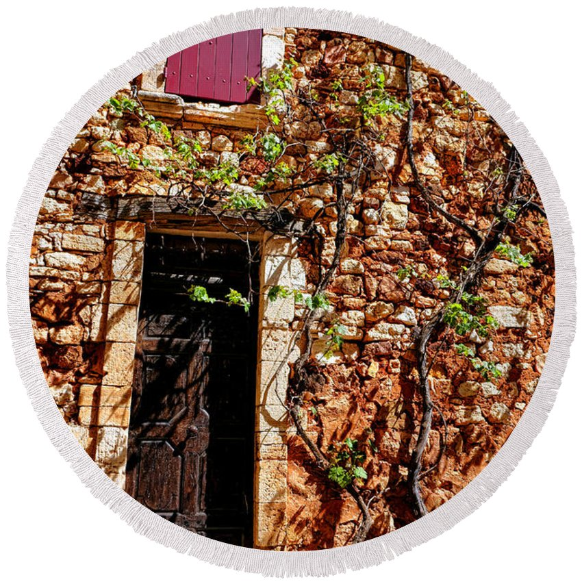 Provence Round Beach Towel featuring the photograph Old Stone House In Provence by Olivier Le Queinec