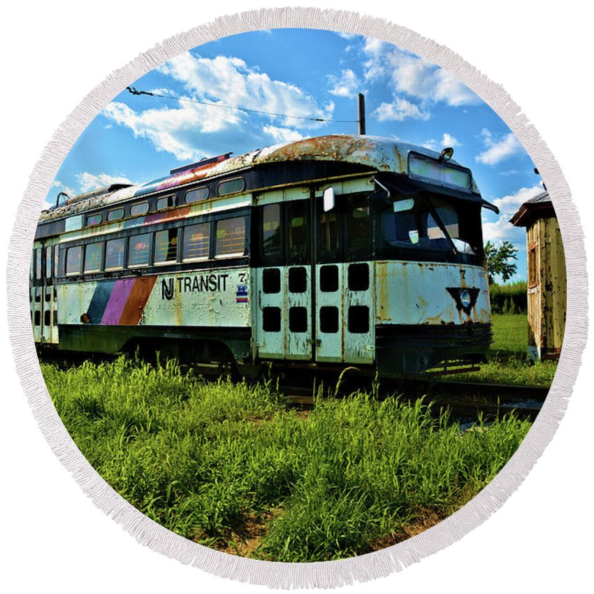 Transportation Round Beach Towel featuring the photograph Old Street Car In Upstate New York by Richard Jenkins