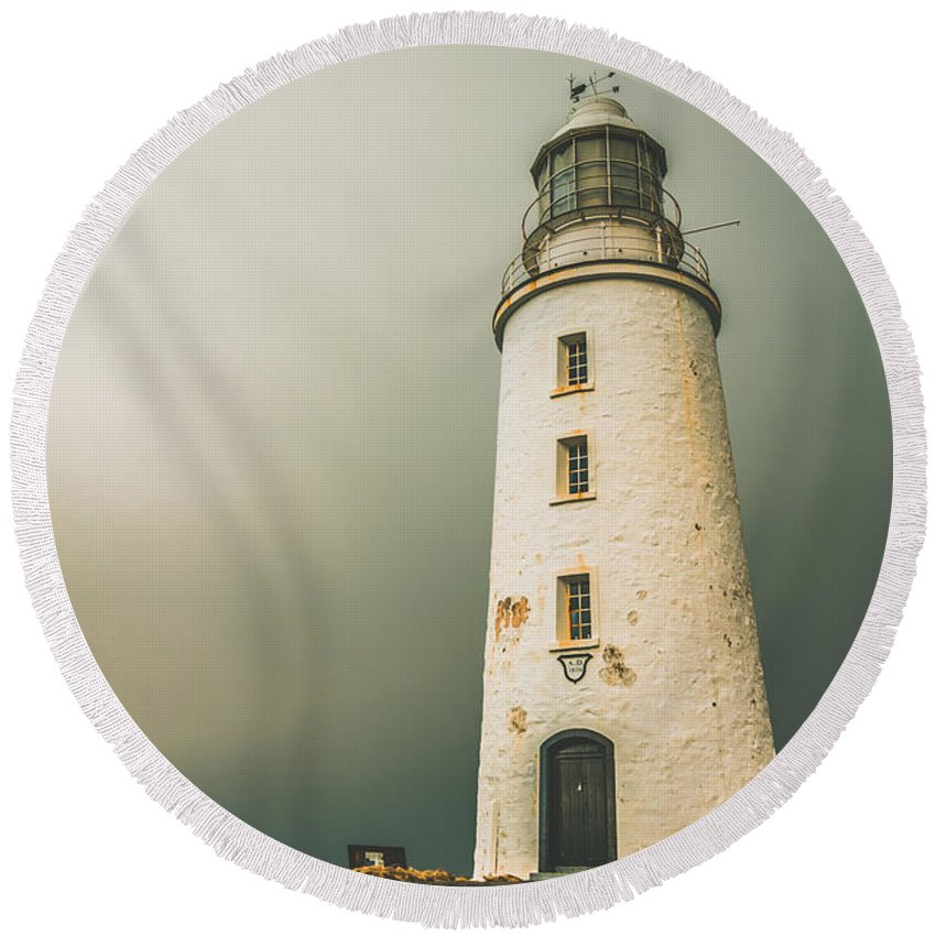 1836 Round Beach Towel featuring the photograph Old Style Australian Lighthouse by Jorgo Photography - Wall Art Gallery