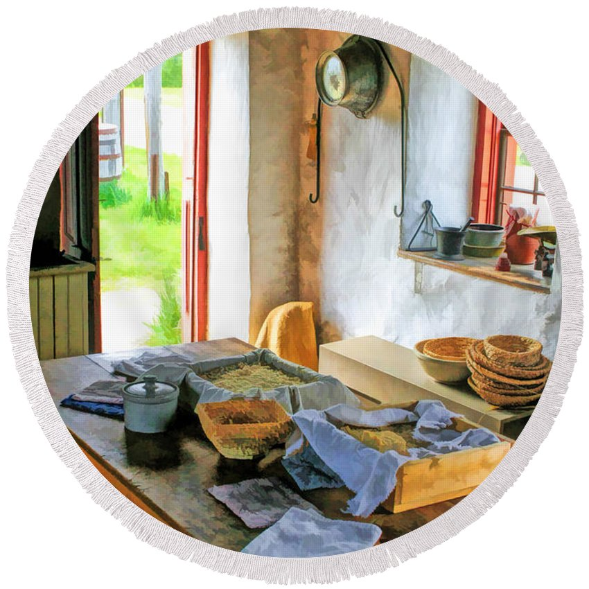 Old World Wisconsin Round Beach Towel featuring the painting Old Time Kitchen At Old World Wisconsin by Christopher Arndt