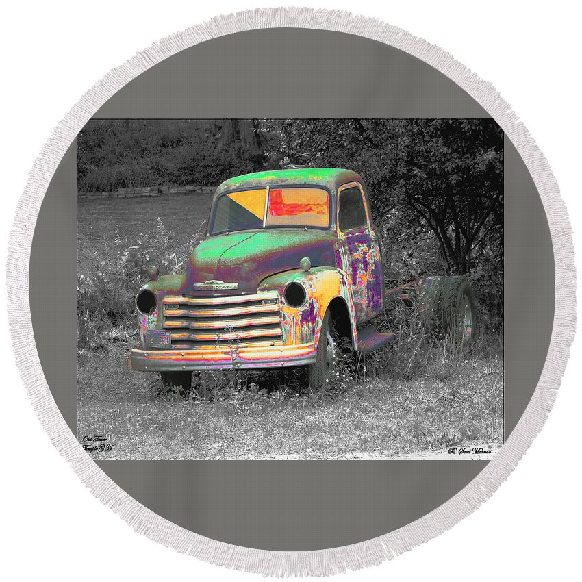 Car Round Beach Towel featuring the digital art Old Timer by Robert Meanor
