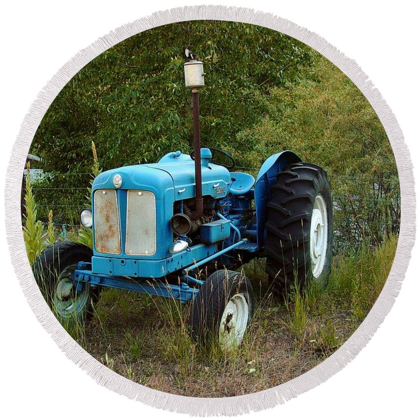 Tractor Round Beach Towel featuring the photograph Old Tractor 3 by Sara Stevenson