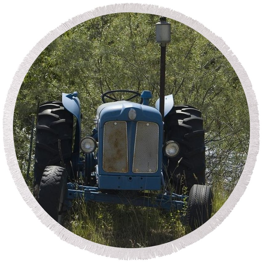 Tractor Round Beach Towel featuring the photograph Old Tractor 6 by Sara Stevenson