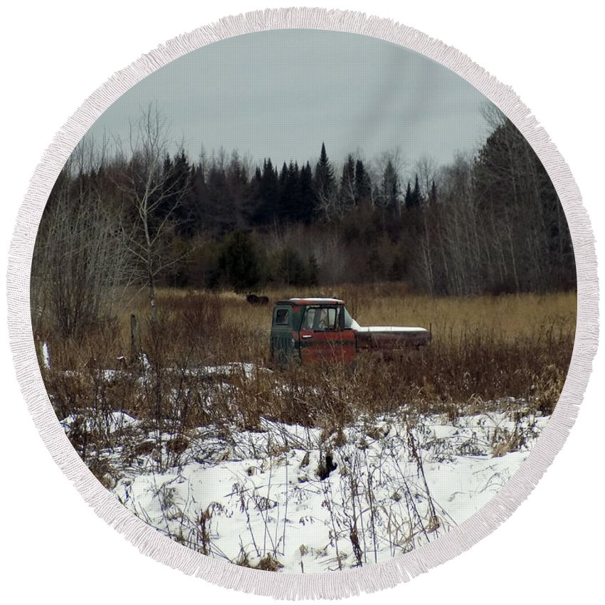 Moose Round Beach Towel featuring the photograph Old Truck And A Moose by William Tasker
