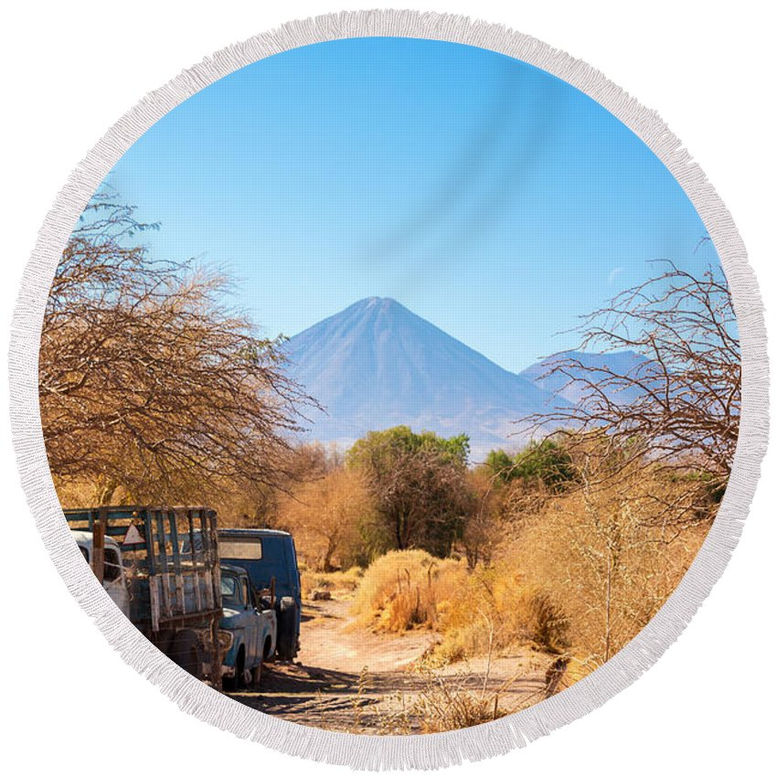 Atacama Round Beach Towel featuring the photograph Old Truck In San Pedro De Atacama by Jess Kraft