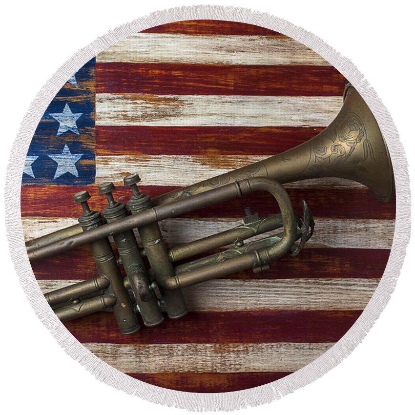 Old Trumpet Round Beach Towel featuring the photograph Old Trumpet On American Flag by Garry Gay