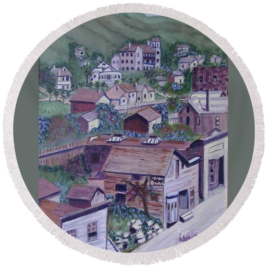 Ventura Round Beach Towel featuring the painting Old Ventura by Laurie Morgan