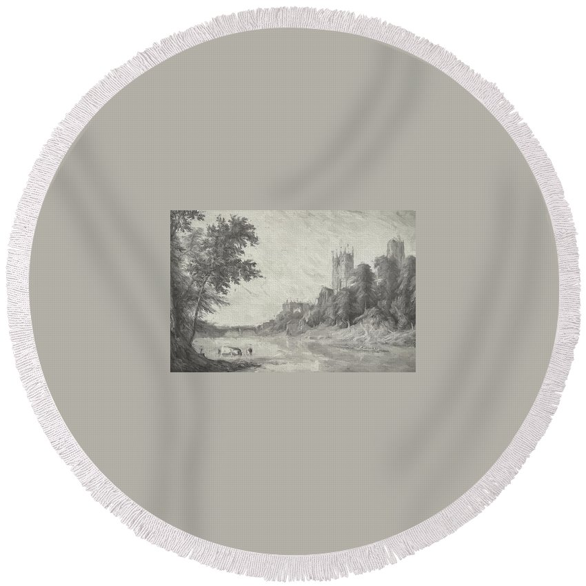 Cathedral Round Beach Towel featuring the mixed media Old View Of Durham Cathedral by Roy Pedersen