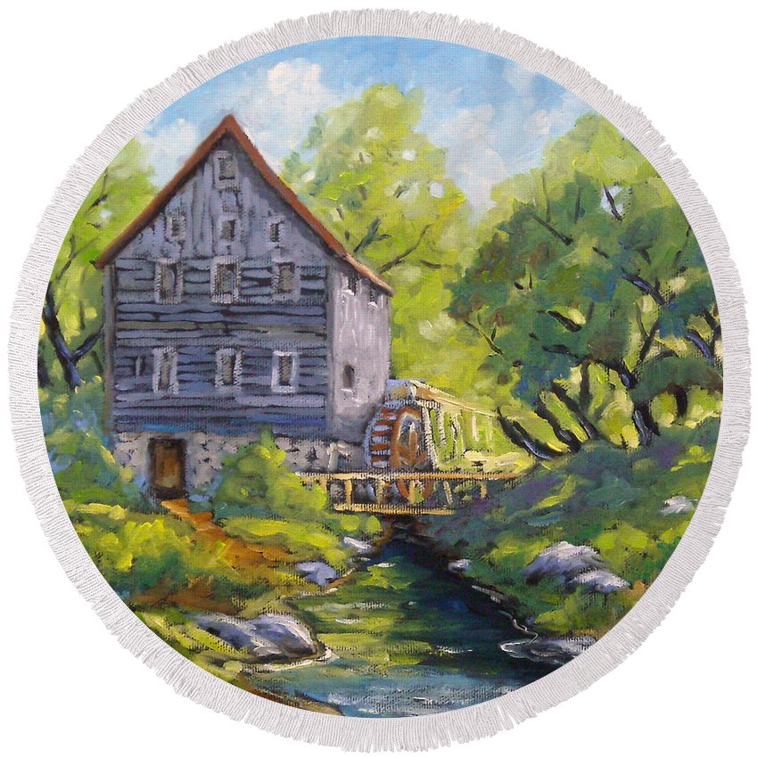 Art Round Beach Towel featuring the painting Old Watermill by Richard T Pranke