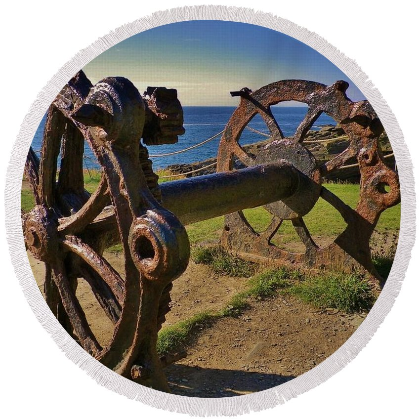 Winch Round Beach Towel featuring the photograph Old Winch Tintagel by Richard Brookes