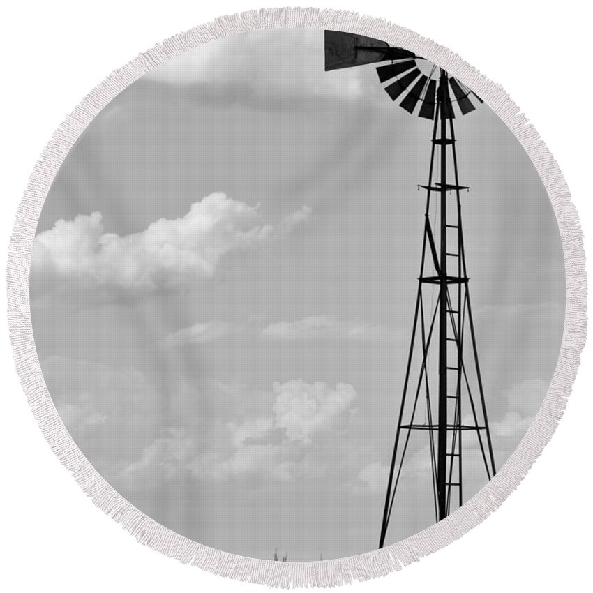 Agriculture Round Beach Towel featuring the photograph Old Windmill II by Ricky Barnard