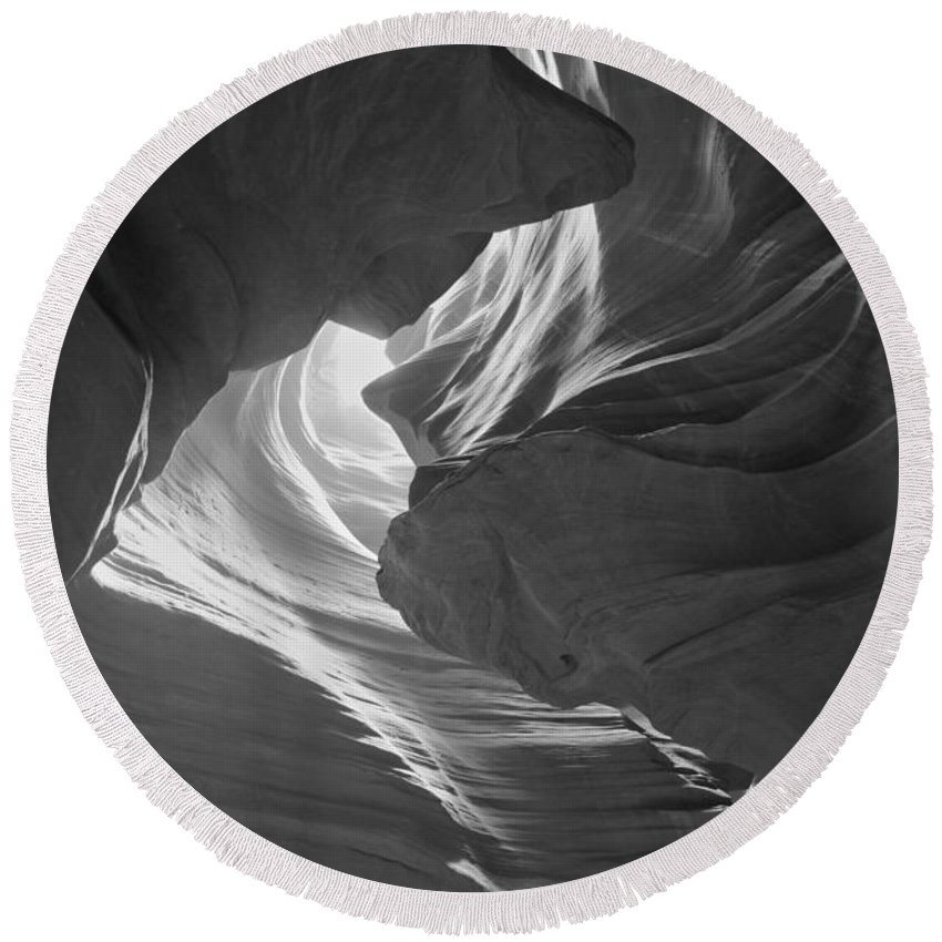 Black And White Round Beach Towel featuring the photograph Old Woman In The Canyon Black And White by Adam Jewell