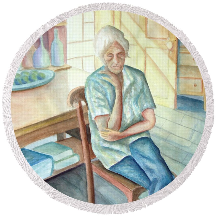 Woman Round Beach Towel featuring the painting Old Woman by Nancy Mueller