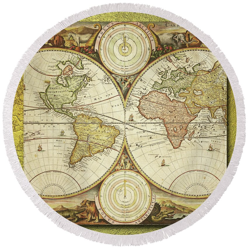 World Round Beach Towel featuring the digital art Old World Map On Gold by Ericamaxine Price