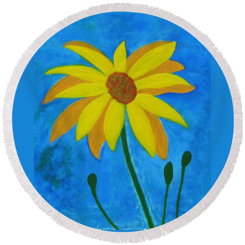 Sunflower Round Beach Towel featuring the painting Old Yellow by John Scates