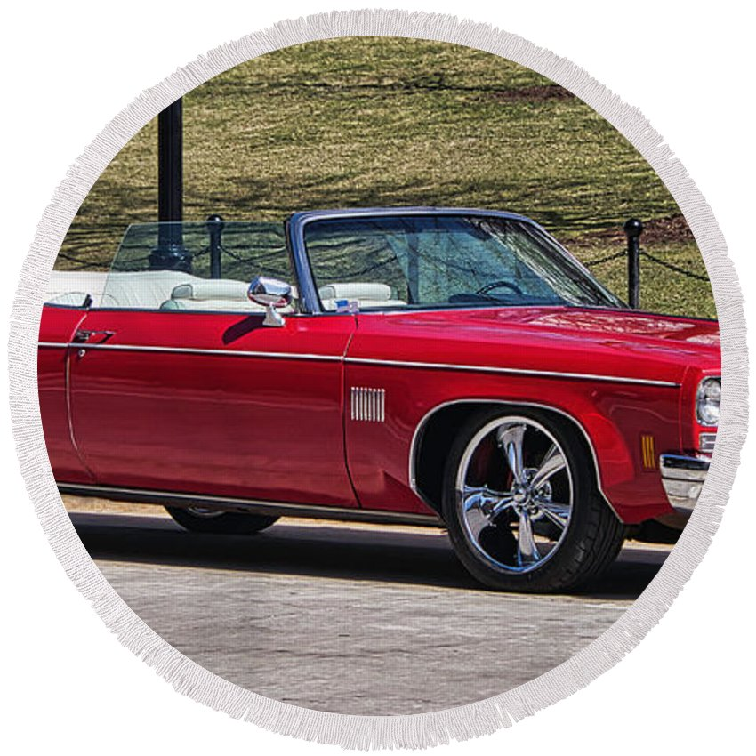 Oldsmobile Round Beach Towel featuring the photograph Oldsmobile Delta Royale 88 Red Convertible by Steven Ralser