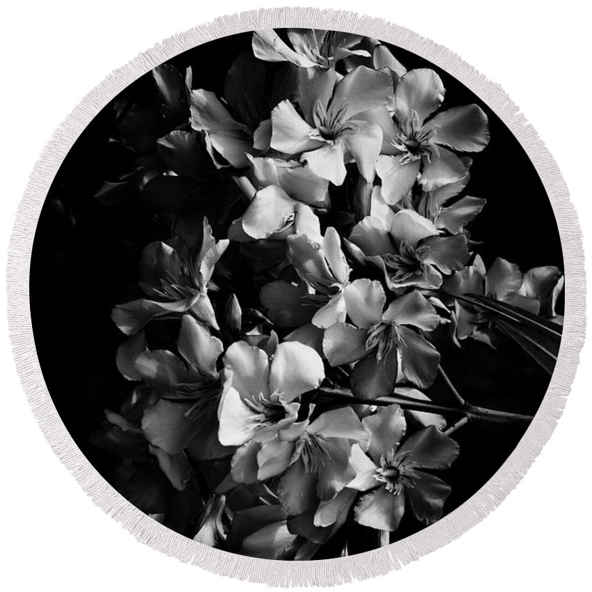 Photography Round Beach Towel featuring the photograph Oleander Flowers In Black And White 2 by Vanessa GFG