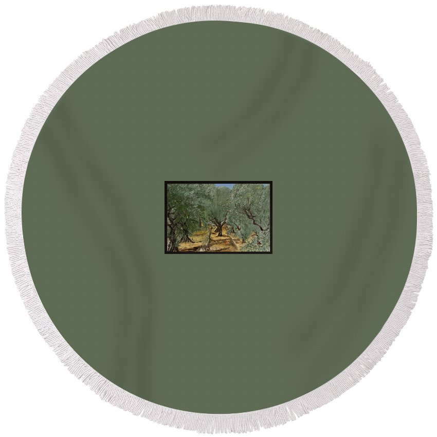 Landscape Round Beach Towel featuring the painting Olive by Pablo de Choros