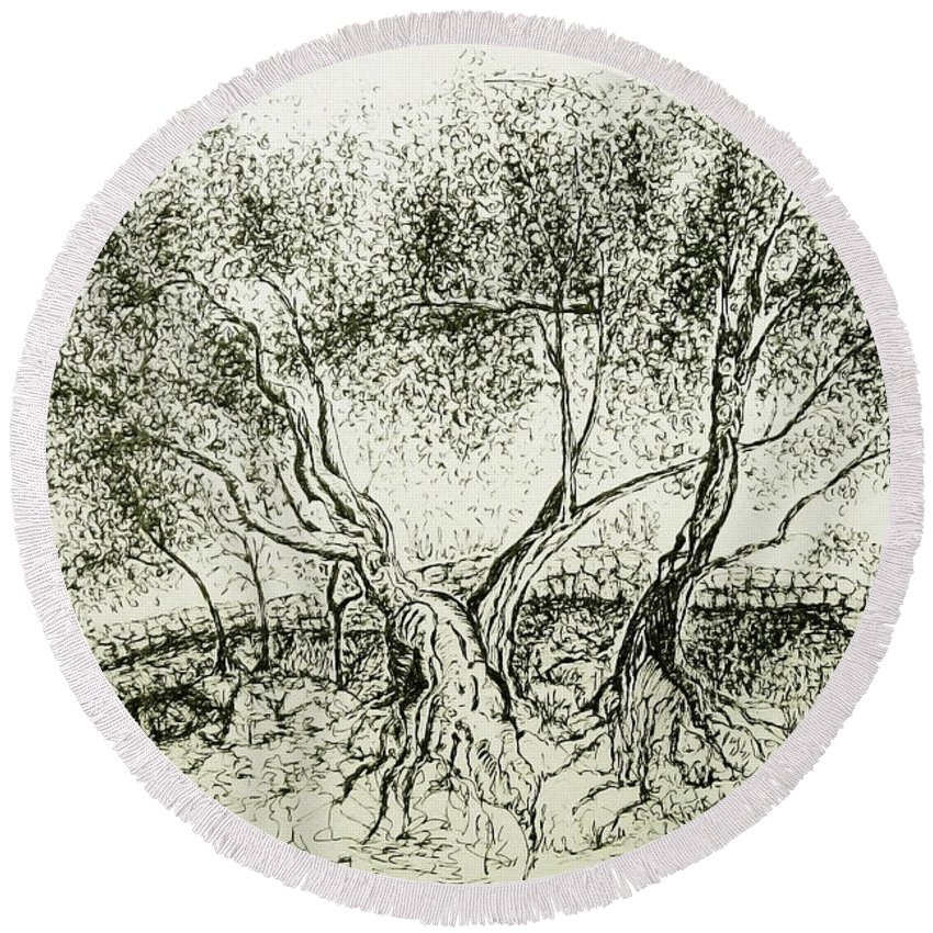 Olive Grove Round Beach Towel featuring the drawing Olive Grove by Jasna Dragun