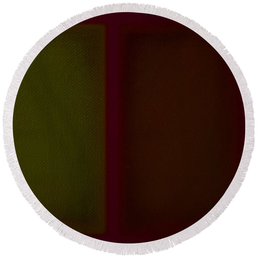 Rothko Round Beach Towel featuring the painting Olive Red by Charles Stuart